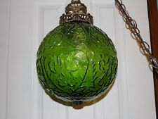 Vintage Hanging Green Glass Globe Swag Chain Ceiling Light Lamp Vtg MCM Avocado