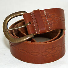 JAG Tan Genuine Leather Stamped Women's Belt Suitable for Jeans Sz Small/Medium