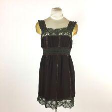 Hazel Brown Dress Sz S Embroidered Crochet Lace Sundress Boho Romantic