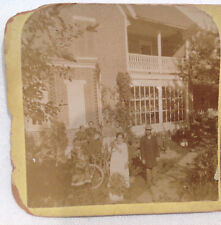 Ca. 1890's Family, Cat & House Stereoview Photo, Stamped MABEL ZIEGENFUSS