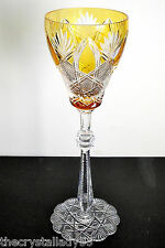 """1 Faberge Czar Amber Gold Cased Cut To Clear Crystal 11"""" Water Goblet Signed"""