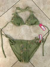 Women's Xhilaration Smocked String Triangle Hipster Bikini 2pc Set - Green Sz L