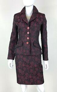 Vertigo New 4 6 US 40 42 IT S Burgundy Black 2 Pc Skirt Suit Jacket Coat Runway