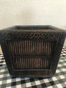 "Vintage Solid Wood Planter Metal Trim Bohemian Decor 6"" Square"