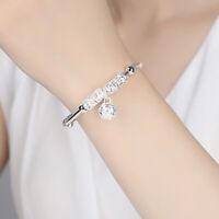 925 Silver Bracelet Women Lucky Bead Pendant Cuff Bangle Fashion Wedding Jewelry