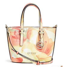 NWT Guess Delaney Crossbody mini Tote purse Handbag Floral print White pink