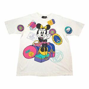 90s Vintage DISNEY MINNIE Mens All Over Print T Shirt XL | Single Stitch