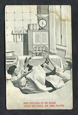 "C1910 Comic Card - ""She Pulled It So Hard That We Fell on the Floor."