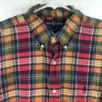 Ralph Lauren Mens Blake Red Plaid Short Sleeve Button Down Shirt xL