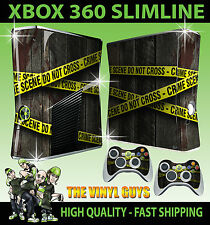 XBOX 360 SLIM STICKER CRIME SCENE POLICE TAPE HAND GRAPHICS SKIN & 2 PAD SKINS