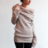 Ladies Off Shoulder Winter Knitted Turtleneck Pullover Warm Sweater Jumper Tops