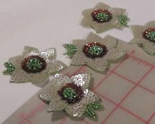 5 Vintage Flower Appliques Green Gray Bronze Sequin Center with Green Seed Beads