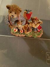 Fitz Floyd Honeybourne Hollow Figurine Building Memories Bears Red Paint Bird