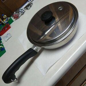 "Saladmaster 9"" Skillet 18-8 Tri-Clad Stainless Steel Fry Pan & Vapo Lid USA"