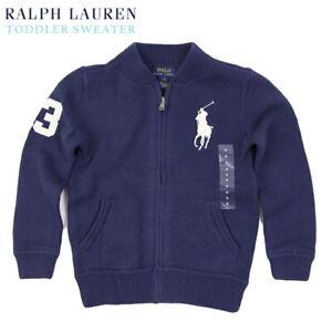 Polo Ralph Lauren Kid's Big Pony Full Zip Sweater Cardigan - Navy size 2T - 7T