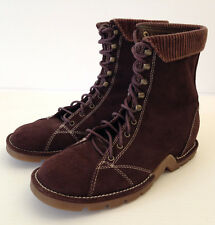 Directives Womens Brown Suede Block Heel Lace Up Ankle Boots Size 8 M USA