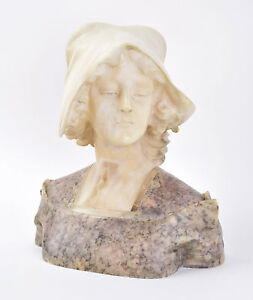 C. 1900 Italian Carved Marble Bust Sculpture Beautiful Young Woman Wearing Cap