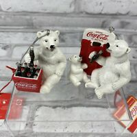 Coca-Cola Polar Bears Christmas Holiday Collectible Ornament New With Tags X 2