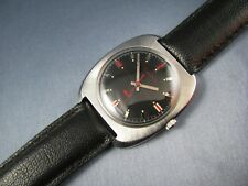 Vintage Bulova Sea King Stainless Steel Black Dial Mens Watch 17K 11BLC 1970