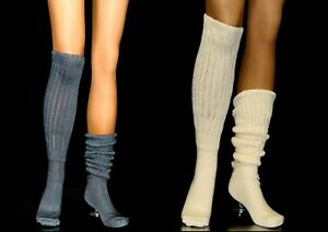 2 Slouch Knee Socks Gray White Long Sexy Warm Comfy Scrunch Flaw hooters uniform