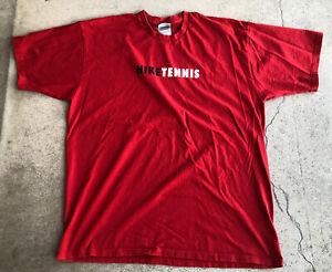 VINTAGE Nike Shirt Adult XL Red Black Swoosh Logo Tennis Mens