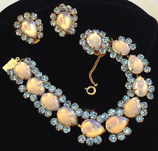"Rare Vintage Miriam Haskell Bracelet & Earrings Set~""Queen Blue"" Collection"