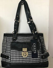 NEW! CHAPS RALPH LAUREN ABBEY GUNCHECK HOUNDSTOOTH BLACK SHOPPER BAG PURSE $89