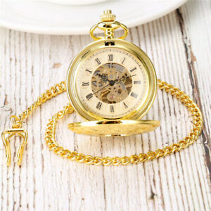 Gold Mechanical Pocket Watches with Pendant Chain Hand Wind Steampunk Round Case