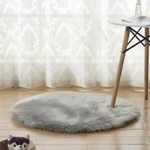 Fluffy Round Rug Artificial Wool Floor Carpet Home Decor For Bedroom Kids Room
