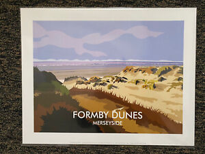 "Retro Contemporary Travel Poster Print Formby Dunes Merseyside 14""x11"" New"