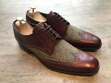 Barker Jackson Wing Tip Brogue Shoes Cherry Tweed UK 8 US 9 Bargain!
