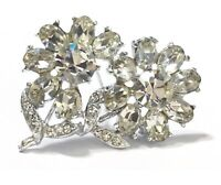 TRUE VINTAGE 1950s Rhinestone Flower Brooch Retro Pin Gift 50s  Jewelry