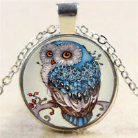 Vintage Steampunk Owl Photo Cabochon Glass Pendant Silver Chain Necklace Jewelry