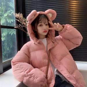 Womens Cute Ears Hooded Winter Cotton Jacket Kawaii Outwear Lolita Coat New