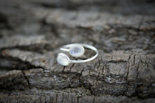Open Adjustable Sterling Silver Ring with two Rainbow Moonstone Gems - Handmade