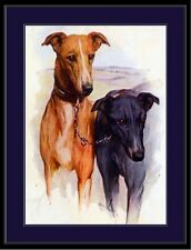 English Picture Print Greyhound Dog Dogs Puppy Puppies Duo Vintage Poster Art