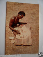 VINTAGE COLOUR PHOTO POSTCARD ABORIGINAL MAN BARK PAINTING ART OF A KANGAROO
