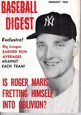 1964 (Feb.), Baseball Digest,  magazine, Roger Maris, New York Yankees ~ VG