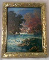 "Maxfield Parrish ""Swiftwater"" Art Print Repro New Mat & Gold Ornate Frame 11 x 9"