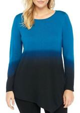 THE LIMITED® Plus Size 3X Blue Ombre Assymmetrical Pullover Sweater NWT $119
