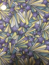 100% Cotton Quilt Patchwork Fabric Freedom F874 Happy Christmas Star Gold Purple