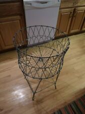 VTG Allied Products Metal Wire Collapsible Folding Laundry Basket Antique Cart