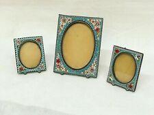 1920's Set Of 3 Italian Micro Mosaic Photo Frame Set
