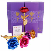 24K Gold Foil Plated Rose Flower Fake Rose Valentine Mother's Day Gift With Box
