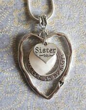 LARGE HEART SISTER PENDANT ROSE QUARTZ GEMSTONE FOREVER IN MY HEART NECKLACE
