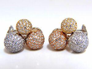 3.70ct Ball Cluster Bead Set diamonds Clip Earrings 18kt