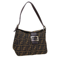 FENDI Zucca Pattern Hand Bag Purse Brown Canvas Leather Vintage Italy Auth 35413