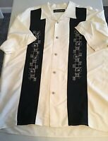 The Havanera Co Men's Embroidered Button Front Shirt Size Large Creme