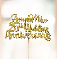 Personalised 25th Wedding Anniversary Cake Topper Decorations ANY NAMES P1031