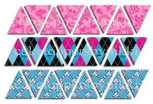 48/24 Edible UNCUT MONSTER HIGH Pink & Blue Bunting Flags Cake Toppers